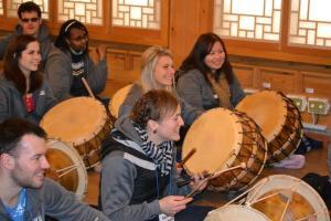B&T at drumming class