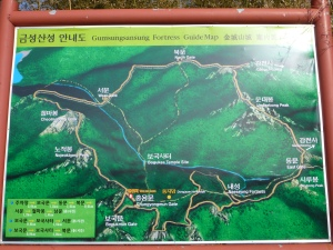 This map was just inside the second (Chungyongmun) gate.  At that point we had already climbed a part of the mountain from the start point.