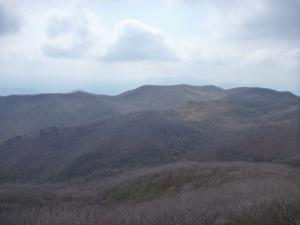 Looking across from Jaggunbong at the ridge we hiked between peaks.