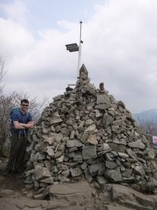 Pile of wishing rocks at the summit.