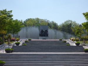 As you approach the memorial from the main entrance.