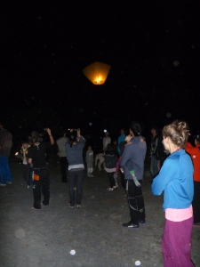 Sky Lanterns being launched along the river.