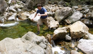 Blake exploring the rocks and pools at one of the rest stops.