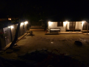 A night shot of the traditional Korean house area at Art Center Daedam.