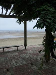 Chunjangdae beach from our gazebo resting place.