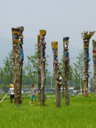 We have no idea what the significance of these are but they reminded us a bit of totem poles from home.