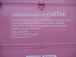 A desperate need for coffee made most of our group about as coherent as this sign we unloaded beside in Chunjangdae