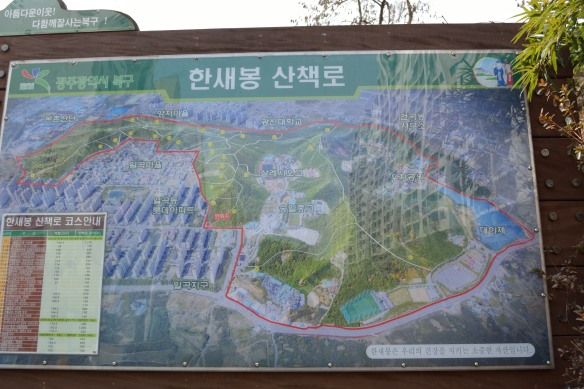 Map at one of the trail entrances showing the extent of the trail network around Ilgok-dong