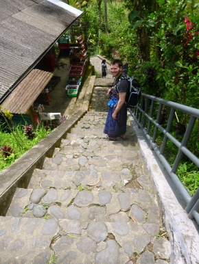 The first part of the stairway down. Everyone had to cover their legs so sarongs were a must.