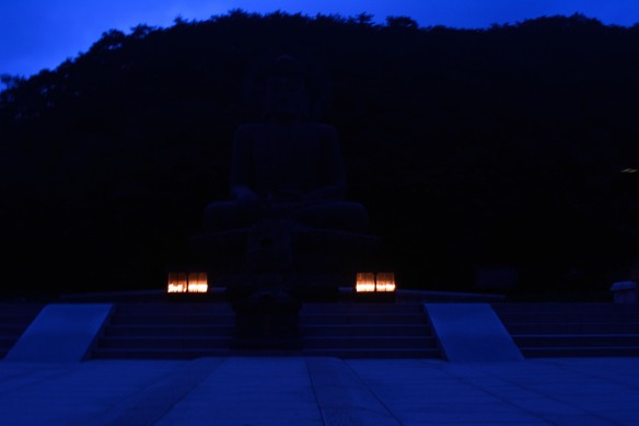 The Buddha lit up at night.