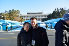 In front of the Conference buildings. The grey building is North Korean.