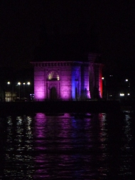 The Gateway changes colours regularly at night.
