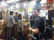 Shopping for snacks in the spice market.