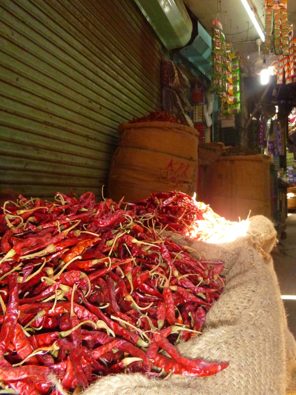 A few bags of chiles in the spice market.